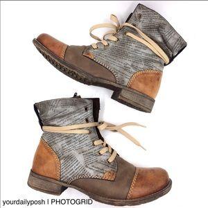 Rieker newspaper newsprint Lorch gray brown boots